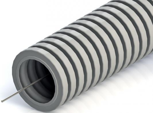 цена на Рувинил 12001(100) Труба гофр.20мм ПВХ (серая) с зондом легкая (бухта 100 м)