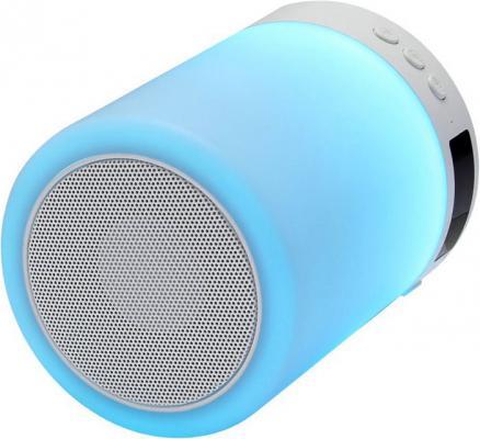 Ginzzu GM-893W, BT-Колонка 5W/LED/RGB/TF/AUX/FM/часы/будильник hopestar a6 mini portable rabbit wireless waterproof bluetooth speaker built in mic support aux hand free call fm tf army green