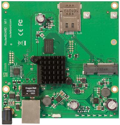 MikroTik RBM11G Плата, 2x 880 МГц, 1G Ethernet, miniPCIe, SIM, PoE, Jack mikrotik rb450gx4 плата для роутеров 716 мгц 4 ядра 5х 1g rj45 microsd rs232