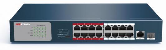 Коммутатор Hikvision DS-3E0318P-E/M 17x100Mb 1SFP 16PoE+ 135W неуправляемый