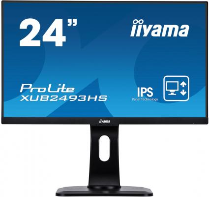 "Монитор 23.8"" iiYama ProLite XUB2493HS-B1 черный IPS 1920x1080 250 cd/m^2 4 ms HDMI DisplayPort VGA Аудио монитор 27 iiyama prolite xb2788qs b1 ips led 2560x1440 5ms dvi hdmi displayport"
