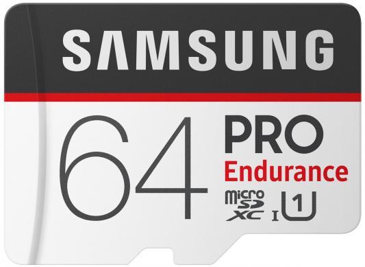 Карта памяти MicroSDXC 64GB Samsung PRO Endurance UHS-I SDR104 + SD Adapter (R100/W30Mb/s) (MB-MJ64GA/RU) карта памяти 64gb samsung micro secure digital hc pro endurance uhs i class 10 sam mb mj64ga ru с переходником под sd