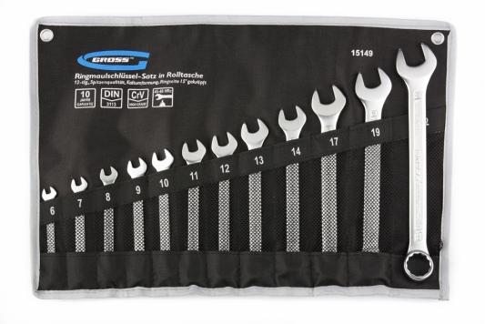 Набор комбинированных ключей GROSS 15149 (6-22мм) 12 шт CrV холодный штамп цена
