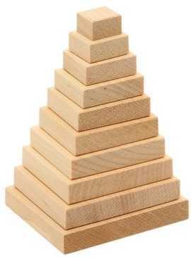 Купить Пирамидка Квадрат, 100х60х60 мм., Пелси, дерево, Пирамидки для малышей