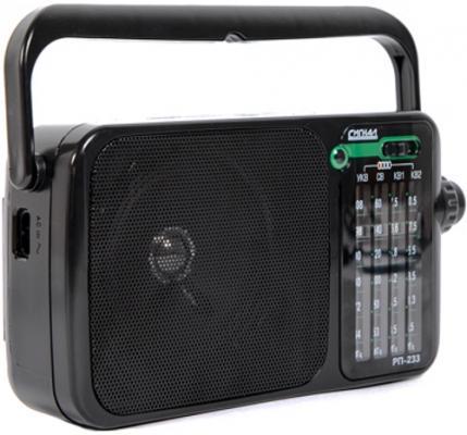 Радиоприемник портативный Сигнал РП-233 черный USB microSD