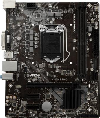 Материнская плата MSI H310M PRO-D Socket 1151 H310 2xDDR4 1xPCI-E 16x 2xPCI-E 1x 4 mATX Retail материнская плата msi h310m gaming plus socket 1151 v2 h310 2xddr4 1xpci e 16x 2xpci e 1x 4 matx retail