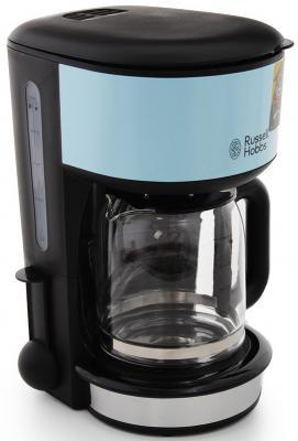Кофеварка Russell Hobbs 20136-56, капельная, д/молотово, 1000Вт, 1.25л, автоподогрев, противокапля, черный/голубой кофеварка moulinex fg360830 капельная 1000вт 1 25л черный
