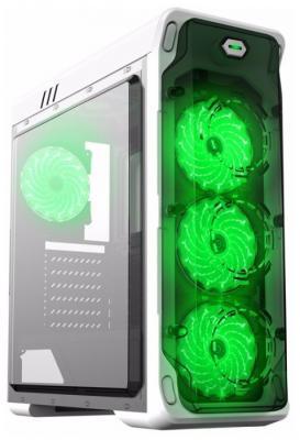 Корпус ATX GameMax StarLight-W-green Без БП белый