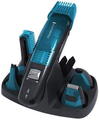 Машинка для стрижки Remington PG6070, набор, аккум. 60 мин, 5 насадок, 7 установок длинны (0.4-16мм), триммер д/носа и ушей, футляр, черный/синий переходник универсальный д путешествий 5 насадок