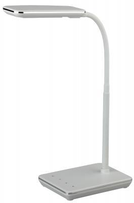 """ЭРА Б0033306 Настольный светодиодный светильник NLED-464-7W-W белый {дизайн """"кожа"""", 5 ступенчатый диммер яркости, сенсор. переключение, цвет. темп. 3000-6000К}"""
