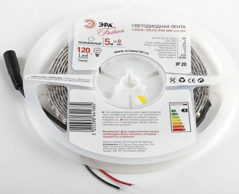 цена на ЭРА Б0002338 Лента светодиодная 9,6Вт/м LS3528-120LED-IP20-WW-eco-5m Белый {Лента светодиодная 5м/8мм}