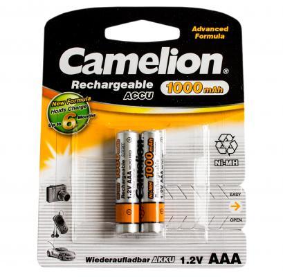 Аккумулятор Camelion NH-AAA1000BP2 1000 мАч AAA 2 шт батарейки удлинители и переходники camelion аккумулятор nh aa2300arbp2