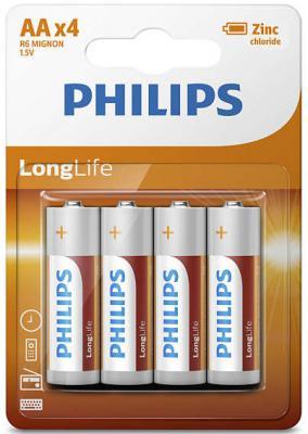 Батарейки Philips Zinc-Chlorid AA 4 шт R6L4B/10 батарейки philips r6l4b 10 aa 4шт