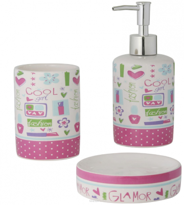Набор для ванной комнаты AXENTIA 122501 lily 3предмета керамика мыльница стакан дозатор для ж.мыла набор для ванной комнаты axentia утята
