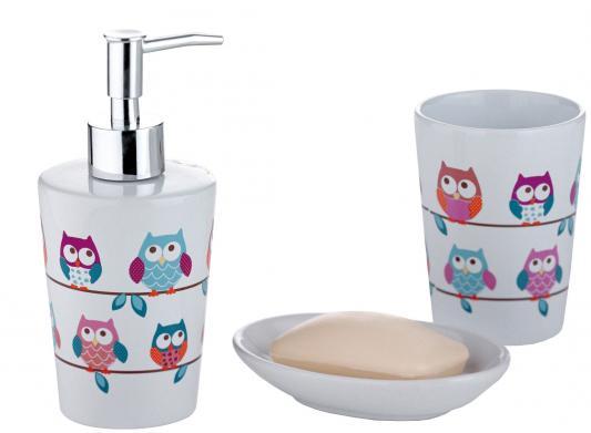 Набор для ванной комнаты AXENTIA 282469 eule совы белая керамика стакан дозатор для жидкого мыла коврик для ванной axentia совы противоскользящий 69 х 38 см