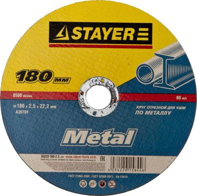 Круг отрезной STAYER MASTER 36220-180-2.5_z01 абразивный для УШМ 180х2.5х22.2мм по металлу петля для металлических дверей 180мм stayer master 37615 180