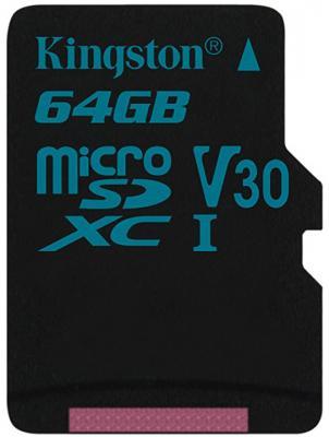 Карта памяти MicroSDXC 64GB Kingston Class UHS-I U3 V30 Canvas Go [SDCG2/64GBSP] карта памяти microsdxc 64gb kingston class uhs i u3 v30 canvas go адаптер [sdcg2 64gb]