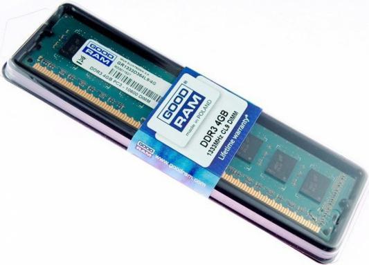 Оперативная память 4Gb (1x4Gb) PC3-10600 1333MHz DDR3 DIMM CL9 Goodram GR1333D364L9S/4G память sodimm ddr3 goodram 8gb for apple w amm13338g