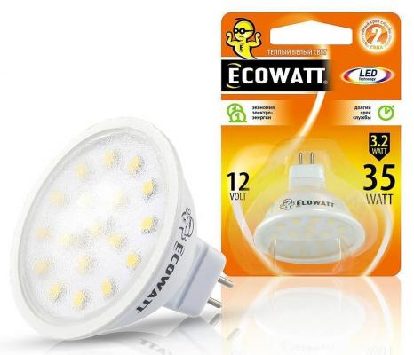 Лампа светодиод. ECOWATT MR16 12В 5(50)W 4200K GU5.3 холодный белый свет лампа светодиод ecowatt b35 230в 4 7 40 w 4000k e14 миньон холодный белый свет свеча