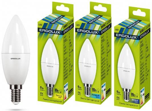 Лампа светодиодная свеча Ergolux LED-C35-9W-E14-3K E14 9W 3000K лампочка ergolux led c35 9w e14 13169