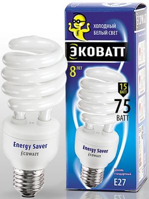 Лампа энергосберегающая ECOWATT SP 15W 840 E27 холодный белый свет витая, люминисцентная 46*127мм лампа энергосберегающая ecowatt fsp 40w 840 e27 холодный белый свет витая люминесцентная
