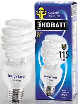Лампа энергосберегающая ECOWATT SP 23W 840 E27 холодный белый свет витая, люминисцентная 53*145мм лампа энергосберегающая ecowatt fsp 40w 840 e27 холодный белый свет витая люминесцентная