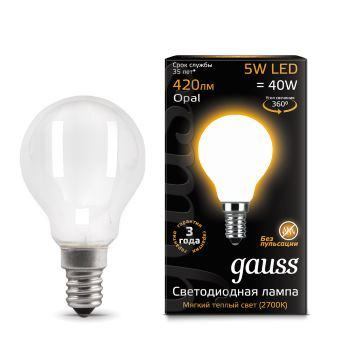 Лампа GAUSS 105201105 led filament globe opal e14 5w 2700k 1/10/50 лампочка gauss black filament opal led свеча e14 5w 104201205