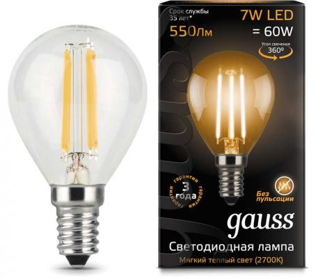 gauss лампа светодиодная gauss led filament candle e14 7w 2700к 1 10 50 103801107 Лампа GAUSS 105801107 led filament globe e14 7w 2700k 1/10/50