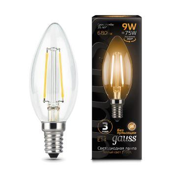 Лампа GAUSS LED Filament Candle 103801109 E14 9W 2700К 1/10/50 лампочка gauss led filament candle tailed e14 7w 2700к 104801107