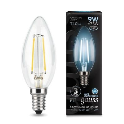 Лампа GAUSS LED Filament Candle 103801209 E14 9W 4100К 1/10/50 gauss лампа gauss led filament candle tailed e14 9w 2700k 1 10 50