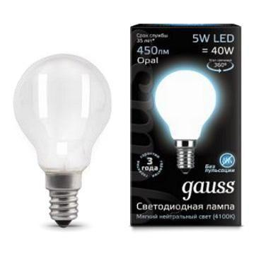 Лампа GAUSS 105201205 led filament globe opal e14 5w 4100k 1/10/50 лампочка gauss black filament opal led свеча e14 5w 104201205