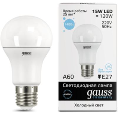 Лампа GAUSS 23235 led elementary a60 15w e27 6500k 1/10/50 gauss elementary a60 e27 15w 220v 3000k