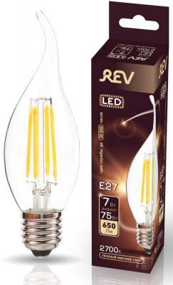 Лампа светодиодная REV RITTER 32429 4 filament свеча на ветру fc37 e27 7w 2700k deco premium теплы лампа накаливания navigator ретро 60вт e27 210лм 2700k 230в шар g95