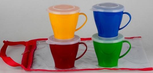 Фото - SOLARIS набор посуды: 4 чашки 0,36л с крышками [супермаркет] jingdong геб scybe фил приблизительно круглая чашка установлена в вертикальном положении стеклянной чашки 290мла 6 z