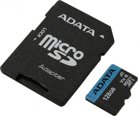 Фото - Карта памяти micro SDXC 128Gb Adata Premier UHS-I U1 V10 A1 + ADP (85/25 Mb/s) AUSDX128GUICL10A1-RA1 карта памяти kingston micro sdhc 32gb canvas select plus uhs i u1 a1 adp 100 10 mb s
