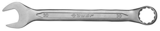 Ключ ЗУБР 27087-30 МАСТЕР гаечный комбинированный, Cr-V сталь, хромированный, 30мм комбинированный ключ 30мм 45град king tony 1063 30
