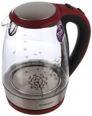 Чайник электрический Scarlett SC-EK27G49 2200 Вт красный чёрный 1.8 л стекло чайник термос scarlett is 509 920вт 3 5л стекло