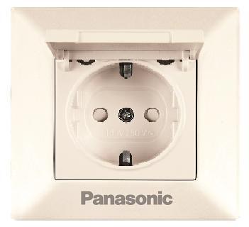 Розетка PANASONIC WMTC0210-2BG-RES Arkedia с/з с крышкой крем