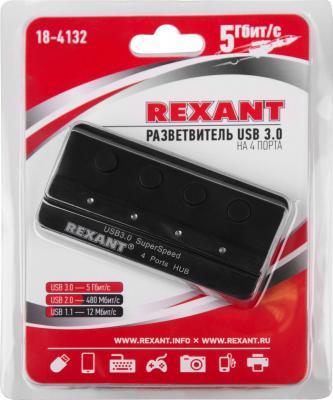 Разветвитель USB 3.0 REXANT 18-4132 4 х USB 3.0 черный клей rexant д х э 30ml 09 3967