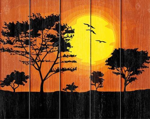 РИСОВАНИЕ ПО НОМЕРАМ ПО ДЕРЕВУ FLAMINGO, РАЗМЕР 40Х50 ЗАКАТ СОЛНЦА в кор.20шт рисование по номерам по дереву flamingo размер 40х50 звездная ночь в кор 20шт
