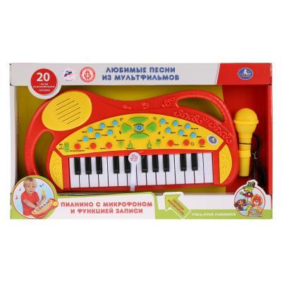 Купить Обучающее пианино со звуком, 20 любимых песен с микрофоном., руссифиц. ТМ УМКА в кор.2*12шт, желтый/красный, Детские музыкальные инструменты