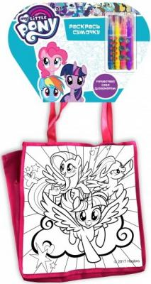 Сумочка для росписи MultiArt My Little Pony, с фломастерами и стразами на блистере в кор.50шт всё для лепки multiart пластилин классический восковый my little pony 6 цветов