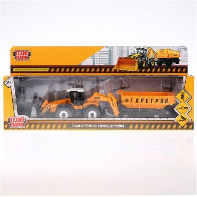 Трактор Технопарк ТРАКТОР С ПРИЦЕПОМ оранжевый 28.5 см 158A2-R трактор с прицепом dickie fendt 41 см