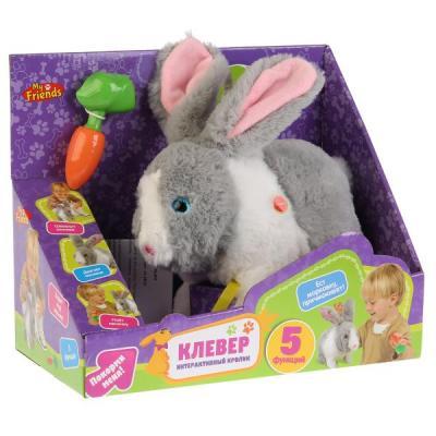 Купить Интерактивный кролик Клевер с морковкой, ходит, на бат. озвуч. руссифиц. MY FRIENDS в кор в кор.12шт, Интерактивные животные и роботы