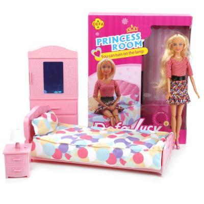 Кукла DEFA LUCY Комната принцессы 27 см светящаяся 8378AB-DEFA кукла defa lucy принцесса 8269
