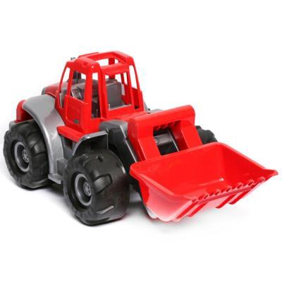 Трактор Нордпласт БОГАТЫРЬ С ГРЕЙДЕРОМ красный 099 машинка игрушечная нордпласт трактор ангара с грейдером и ковшом