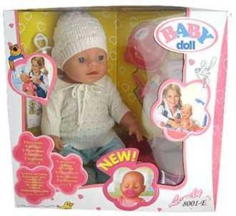 Пупс Shantou 8001/ 8001-E 43 см писающая пьющая B689660 (8) кукла shantou gepai my baby 30 см со звуком пьющая писающая