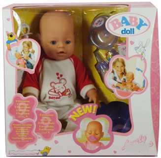 Пупс Shantou 8001/ 8001-6 43 см писающая пьющая B553179 кукла shantou gepai my baby 30 см со звуком пьющая писающая