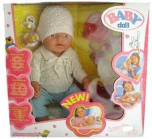 Пупс Shantou 058E 43 см писающая пьющая B709403 кукла shantou gepai my baby 30 см со звуком пьющая писающая