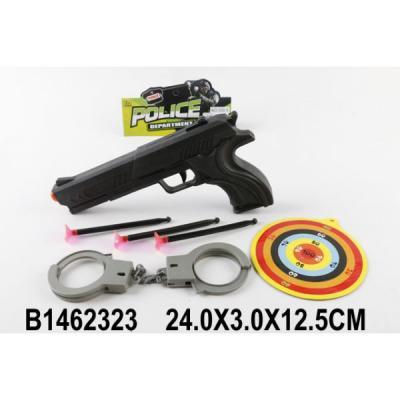 НАБОР ПОЛИЦИЯ (ПИСТОЛЕТ С ПРИСОСКАМИ, МИШЕНЬ, НАРУЧНИКИ) В ПАК. 24*3*12,5СМ в кор.2*180шт набор полиция пистолет с присосками наручники в пак 24 3 12 5см в кор 2 180шт